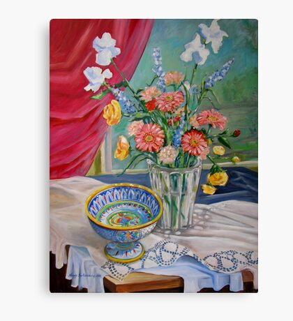 Still Life with Flowers and Bowl Canvas Print