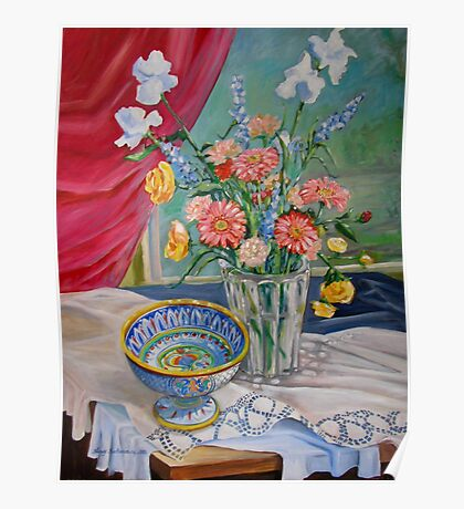 Still Life with Flowers and Bowl Poster