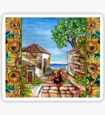 BLACK ROOSTER AND SUNFLOWERS Rustic Village In Maremma Tuscany Sticker