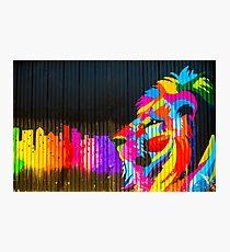 Graffiti lion colorful rainbow on black background urban street art Photographic Print