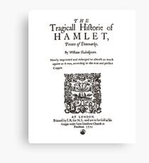 Shakespeare's Hamlet Front Piece - Simple Black Version Canvas Print