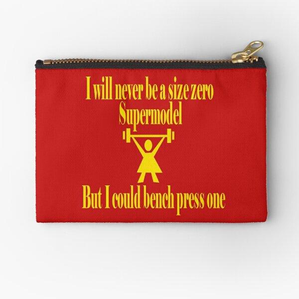 Bench Press a Supermodel in Gold Zipper Pouch