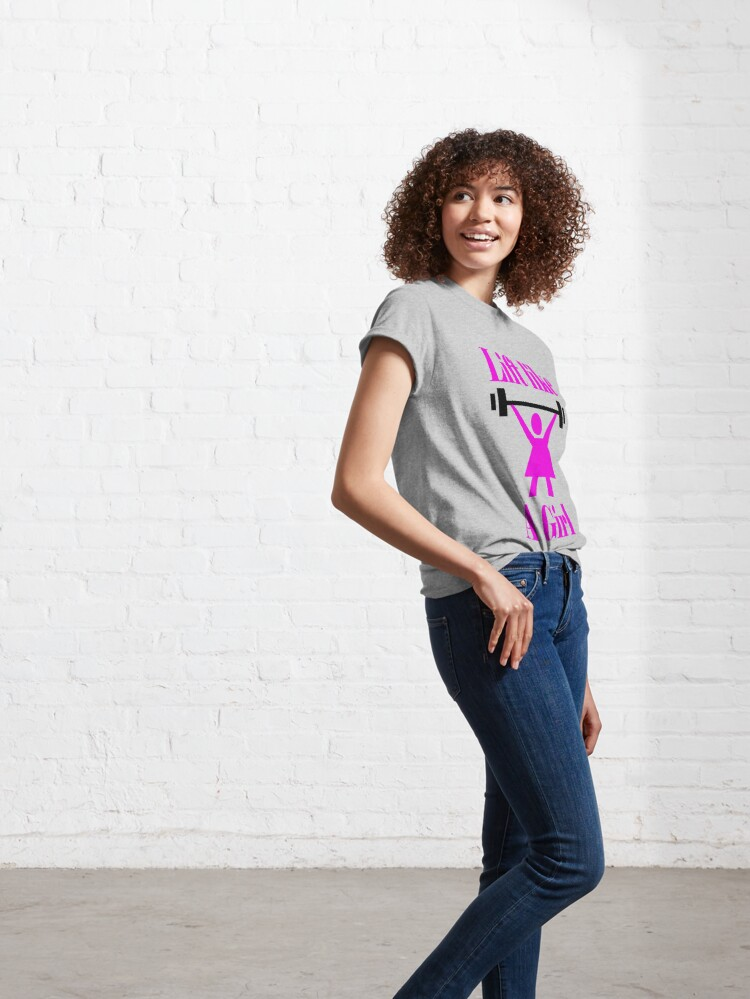 Alternate view of Lift like a girl in Pink Classic T-Shirt