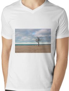 A tree by the lake. Mens V-Neck T-Shirt