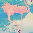 Love - You make my life wonderful in every way! pink flamingos pop art greeting card by Walt Curlee