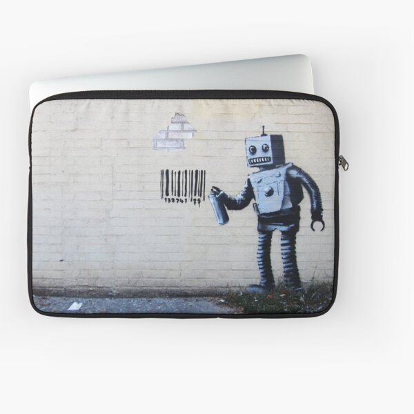 Banksy graffiti smiling Robot and barcodes Better Out Than In New York City residency on brick wall Laptop Sleeve