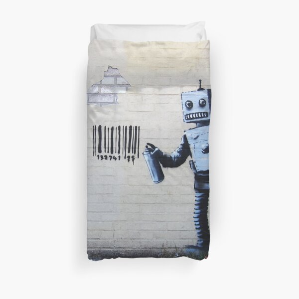 Banksy graffiti smiling Robot and barcodes Better Out Than In New York City residency on brick wall Duvet Cover