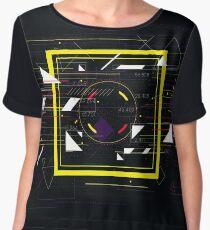 Tech futuristic abstract colorful square, sci-fi geometric  Chiffon Top