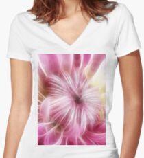 Fractal flower Women's Fitted V-Neck T-Shirt