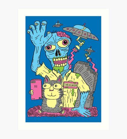 Cat Zombie UFO Lámina artística