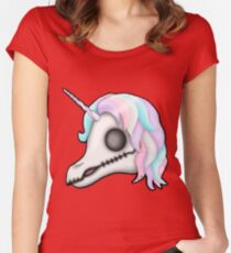 My Little Dead Unicorn | Unicorn Skull | Pastel Rainbow Fitted Scoop T-Shirt