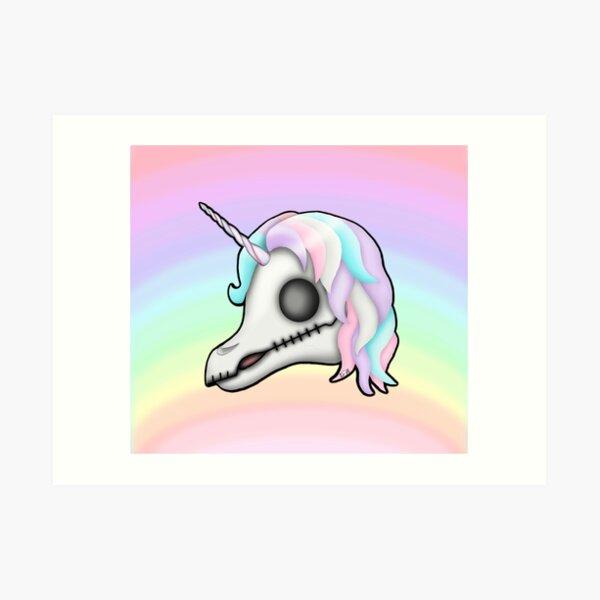 My Little Dead Unicorn | Unicorn Skull | Pastel Rainbow Art Print