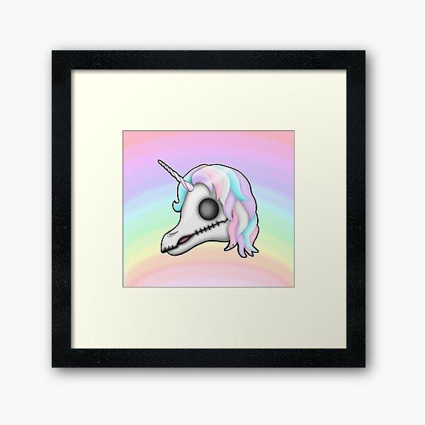 My Little Dead Unicorn   Unicorn Skull   Pastel Rainbow Framed Art Print