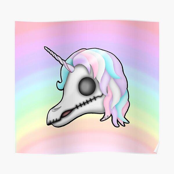 My Little Dead Unicorn   Unicorn Skull   Pastel Rainbow Poster