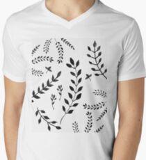 Black & White Leaves Pattern #4 #drawing #decor #art Men's V-Neck T-Shirt