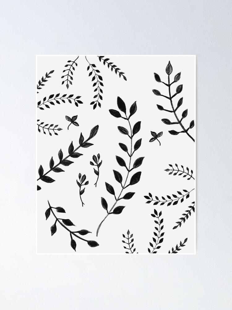 Black White Leaves Pattern 4 Drawing Decor Art Poster By Anitabellajantz Redbubble