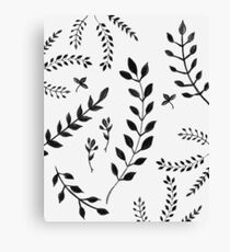 Black & White Leaves Pattern #4 #drawing #decor #art Canvas Print