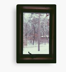 Cabin Snow Window Canvas Print