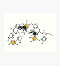 Bees making honey on macromolecular structure as a bee house  Art Print