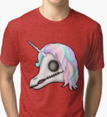 My Little Dead Unicorn | Rainbow Unicorn Skull | White Tri-blend T-Shirt
