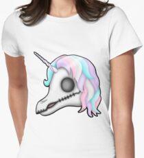 My Little Dead Unicorn   Rainbow Unicorn Skull   White Fitted T-Shirt