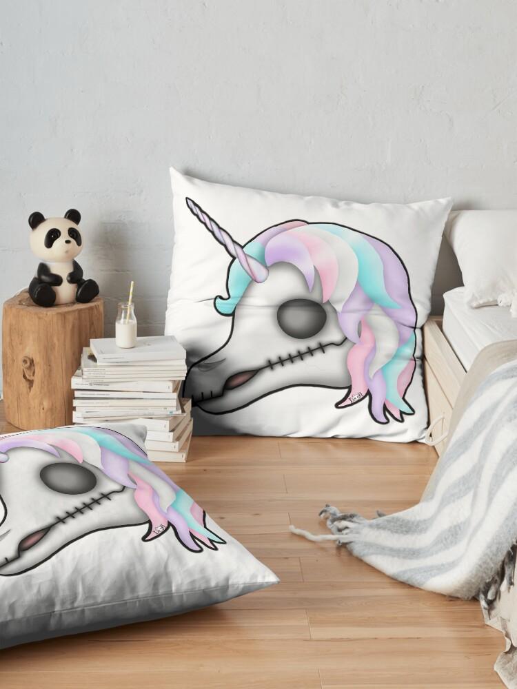 Alternate view of My Little Dead Unicorn   Rainbow Unicorn Skull   White Floor Pillow