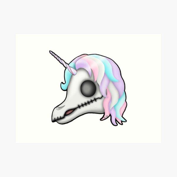 My Little Dead Unicorn | Rainbow Unicorn Skull | White Art Print