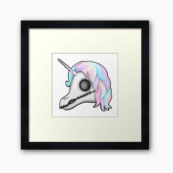 My Little Dead Unicorn   Rainbow Unicorn Skull   White Framed Art Print