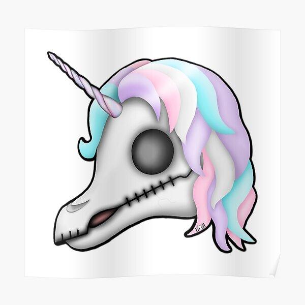 My Little Dead Unicorn   Rainbow Unicorn Skull   White Poster