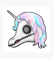 My Little Dead Unicorn | Rainbow Unicorn Skull | White Photographic Print