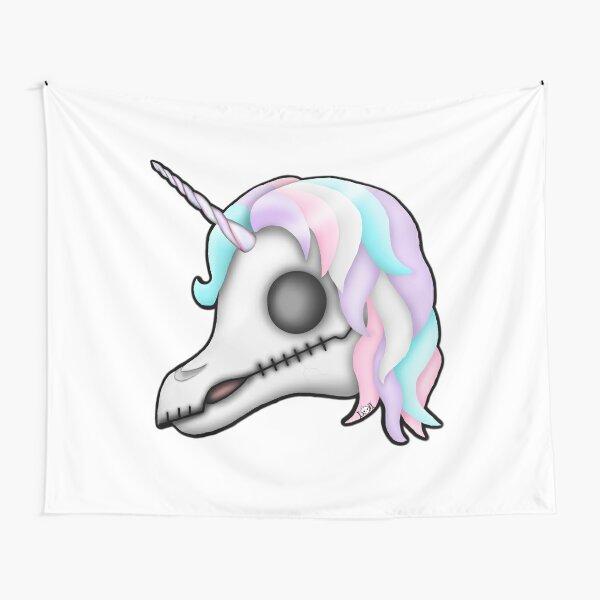 My Little Dead Unicorn | Rainbow Unicorn Skull | White Tapestry