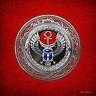 Sacred Egyptian Winged Scarab with Ankh in Silver and Gems over Red Leather  by Serge Averbukh