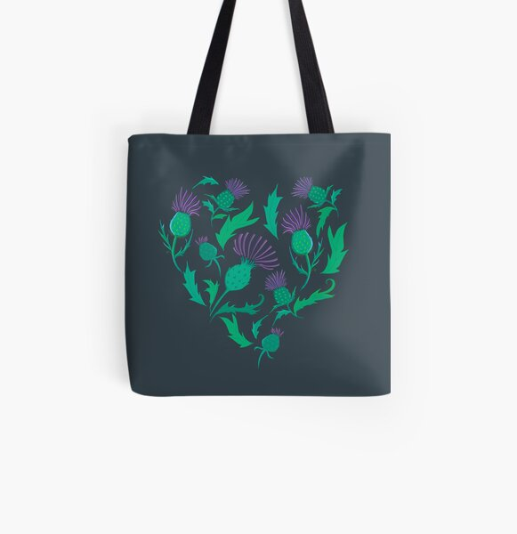 Scottish Thistle Heart All Over Print Tote Bag