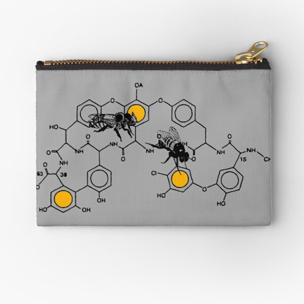 Bees making honey on macromolecular structure as a bee house  Zipper Pouch