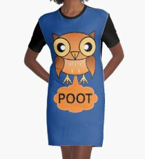 The Farting Owl - Pootin' not Hootin' Graphic T-Shirt Dress