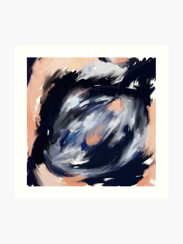 Storm S Eye An Abstract Painting In Peach Blue White And Black Art Print