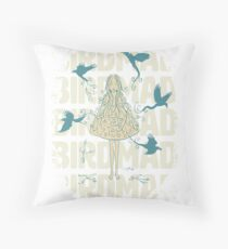 Birdmad Girl - Inktober 2017 Collection Birdmad Throw Pillow