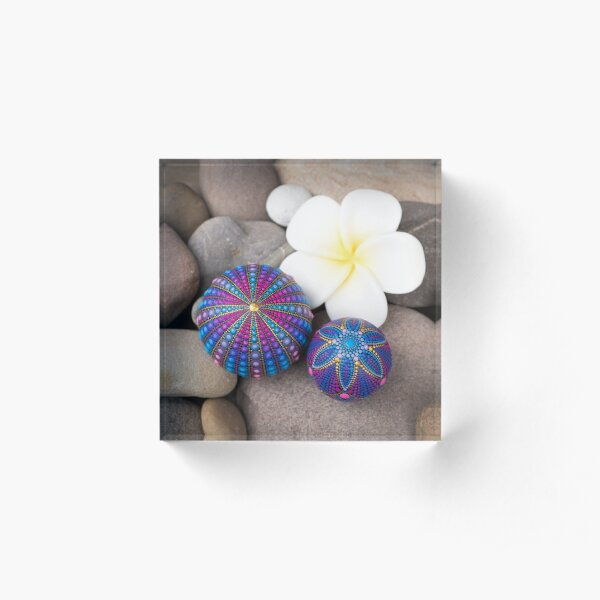 Beautiful blue and purple stones with the flower Acrylic Block