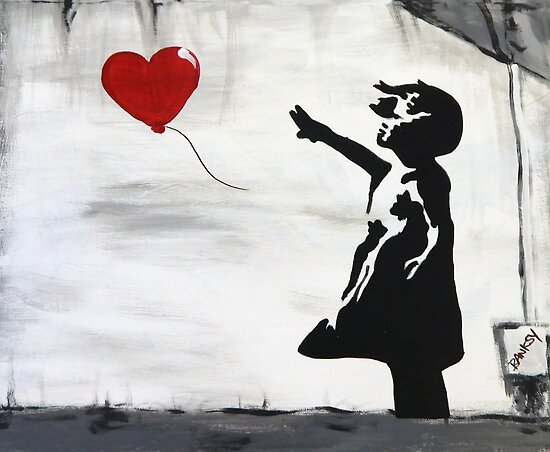 c5553205152 Banksy Girl with heart balloon graffiti street art