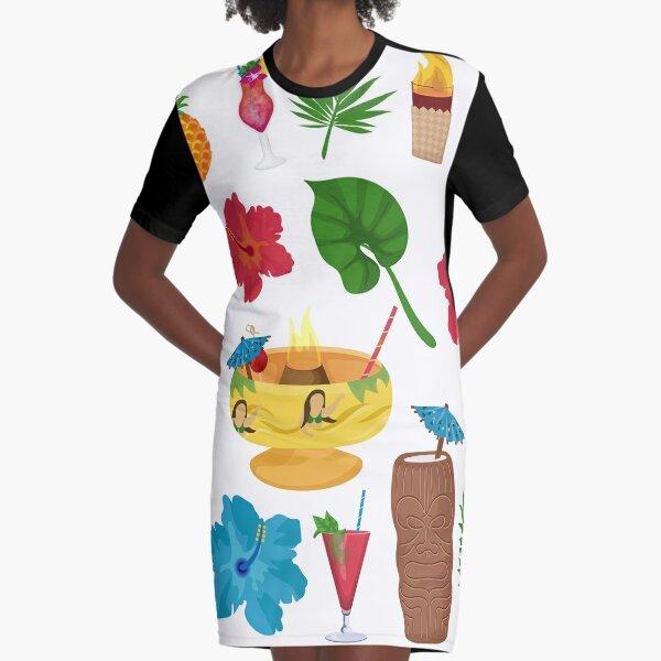 TIKI PARTY Graphic T-Shirt Dress