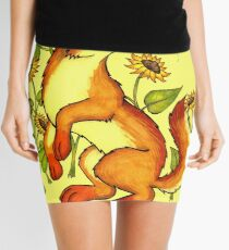 Red Wolf in Summer - Sunflowers and Butterflies Mini Skirt