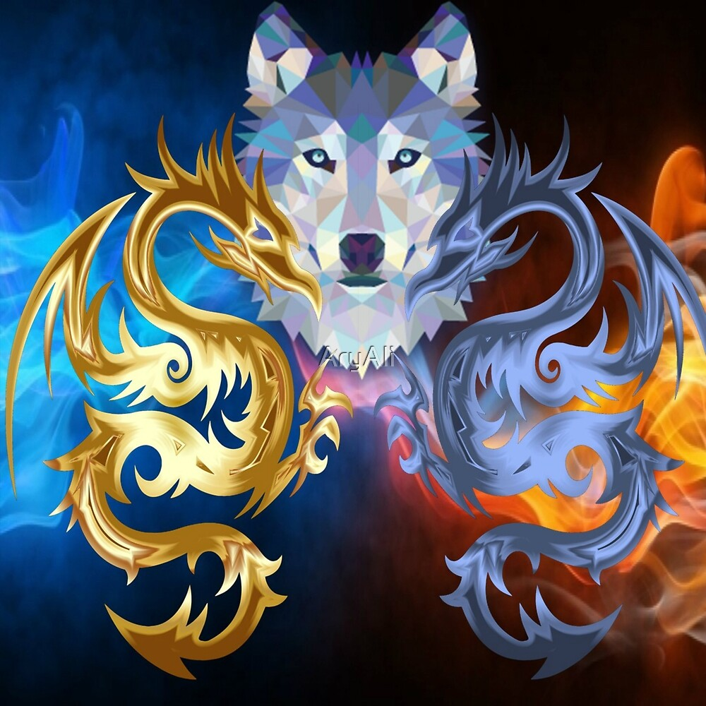 Dragon and wolf in red and blue, fire and ice by AryAli