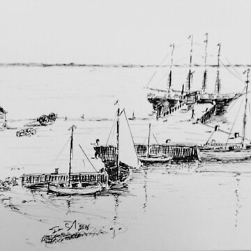 Tail ships at the old wharf Stanley by Ian Shiel by Ruckrova