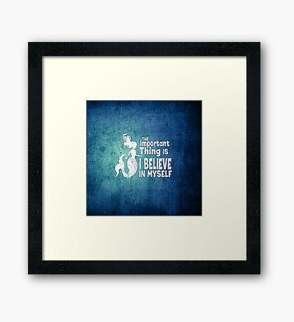 Mermaid - The Important Thing Is I Believe In Myself - Grunge Denim Framed Print