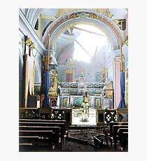 Private Paul Oglesby, 30th Infantry, standing in reverence before an altar in a damaged Catholic Church (Santa Maria degli Angeli). Acerno, Italy, September 1943. Photographic Print