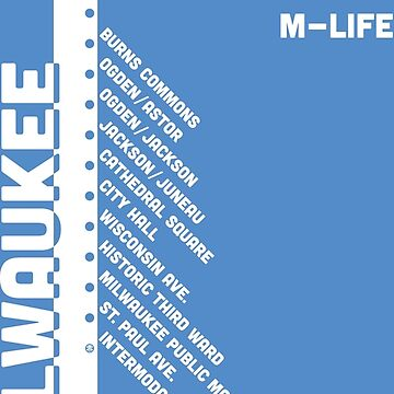 """M-Life"" The Hop Milwaukee Streetcar M-Line White on Blue by MetzgerAndSons"