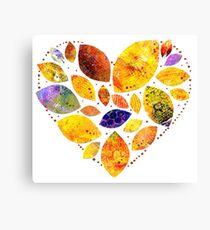 Autumn Leaf Heart Canvas Print