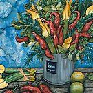 Basil, Zuchini Flowers & Chillis by Sarina Tomchin