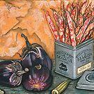 Broad Beans, Italian Eggplant & Okra by Sarina Tomchin