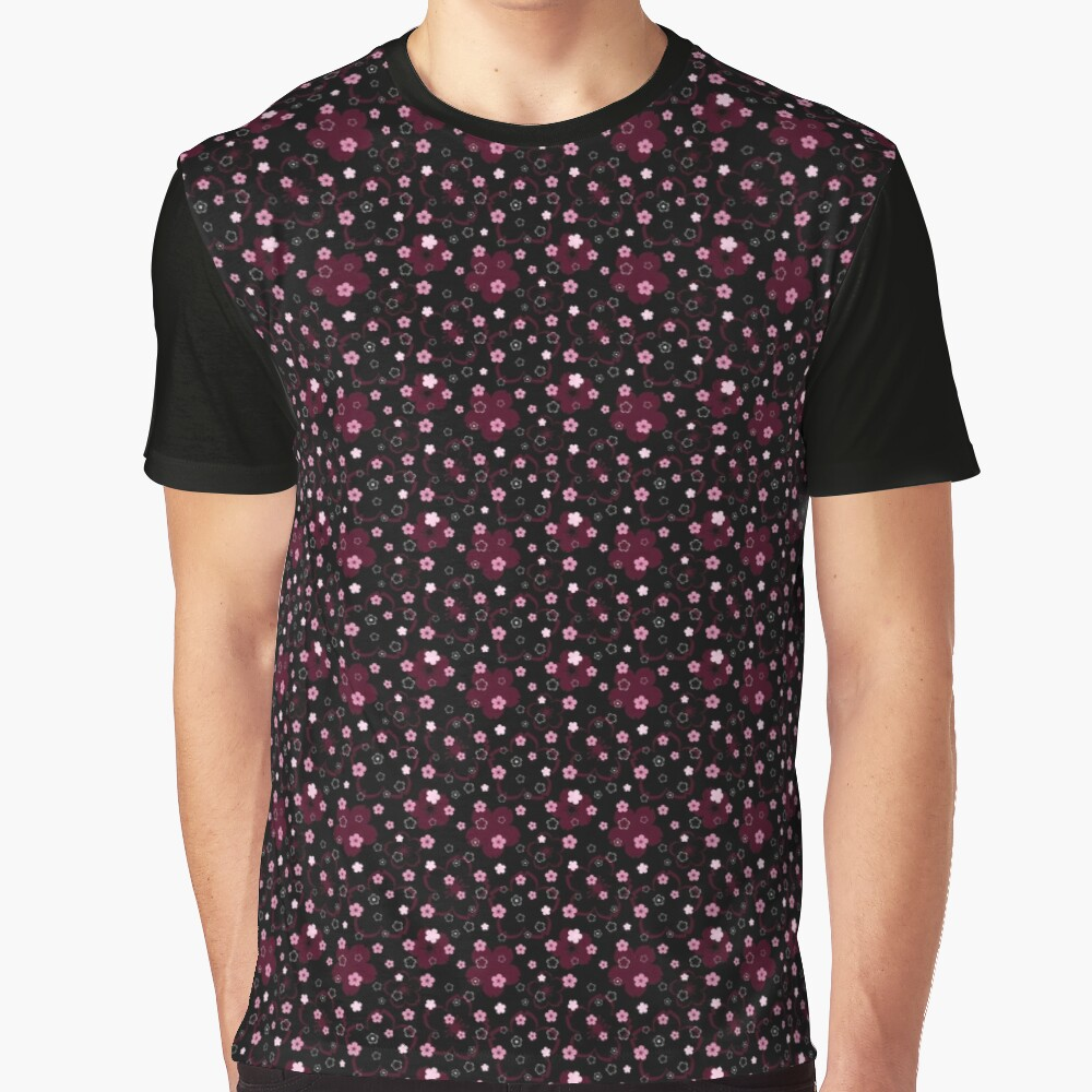 Cherry Blossom Season in Black and Rose Graphic T-Shirt